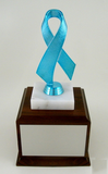 Awareness Ribbon on Genuine Marble and Wood Base Large-Trophies-Schoppy's Since 1921