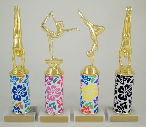 Gymnastics Trophy with Hawaiian Print Custom Round Column