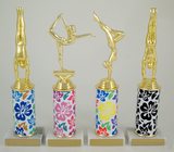 Gymnastics Trophy with Hawaiian Print Custom Round Column-Trophies-Schoppy's Since 1921