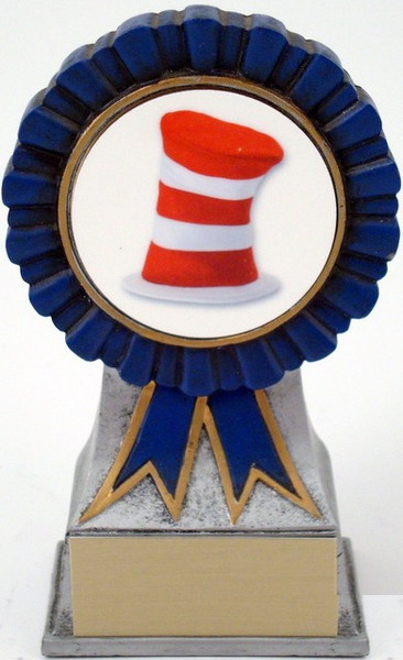 Hat Logo on Ribbon Resin