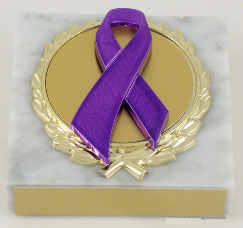 Awareness Ribbon White Marble Paperweight
