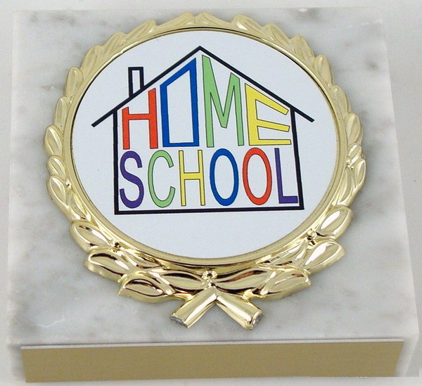 White Marble Home School Paperweight-Paperweight-Schoppy's Since 1921
