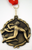 Wrestling Medal on Red, White & Blue Ribbon-Medals-Schoppy's Since 1921