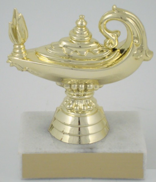 Lamp of Learning Trophy on Marble Base