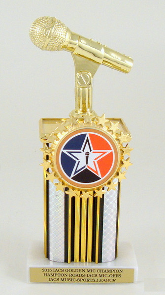 Microphone Starred Logo Holder Trophy
