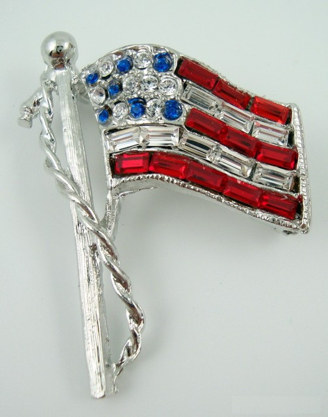 Rhinestone Flag Pin - Silver Sm. w/ Red White & Blue rhinestones