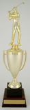 Golf Cup Trophy on Black Marble and Wood Base-Trophies-Schoppy's Since 1921