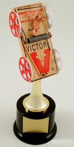 Mouse Trap Racing Trophy on Black Round Base