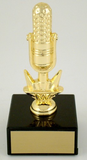 Golden Microphone Trophy on Marble-Trophies-Schoppy's Since 1921