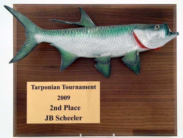 Tarpon Award Plaque 9 x 12 Walnut-Plaque-Schoppy's Since 1921