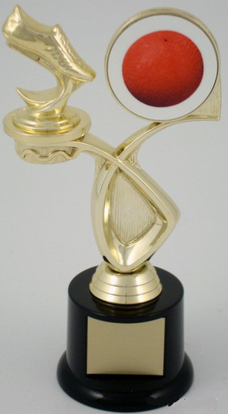 Kickball Foot and Logo Trophy on Black Round Base