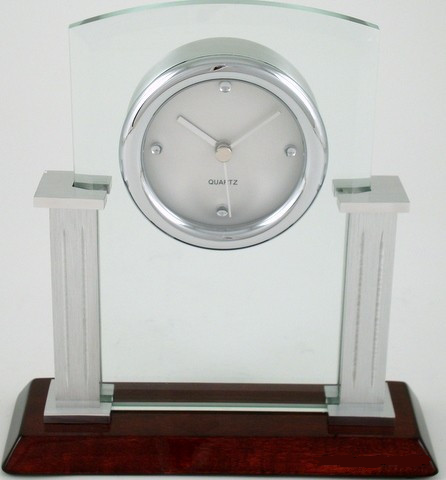 Leeber Glass Desk Clock-Clock-Schoppy's Since 1921