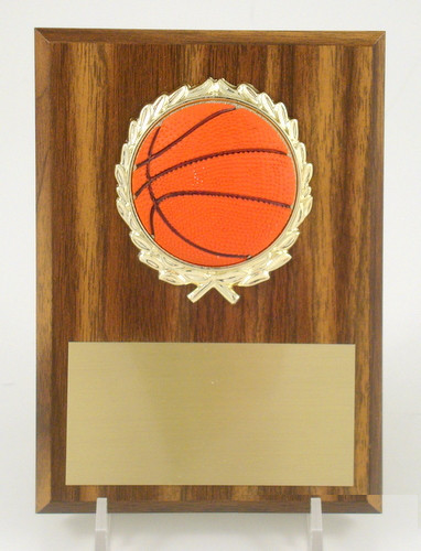 "Basketball 4"" x 6"" Plaque with Relief Ball Logo"