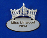 Rhinestone Crown Drop Down Name Badge-Pageant-Schoppy's Since 1921