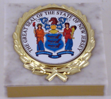 The Great Seal of New Jersey on White Marble Paperweight-Paperweight-Schoppy's Since 1921