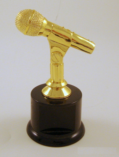 Microphone Trophy on Black Round Base