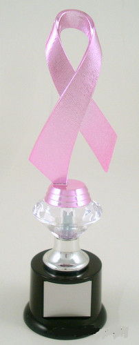 Awareness Ribbon Trophy with Diamond Riser on Black Round Base