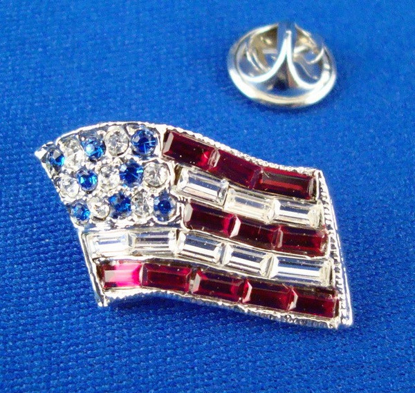 Rhinestone American Flag Pin-Jewelry-Schoppy's Since 1921