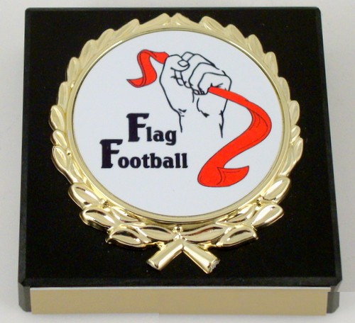 Flag Football Logo Black Paperweight