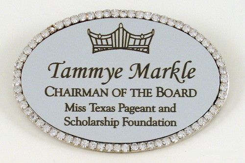 Rhinestone Border Metal Pageant Name Badge
