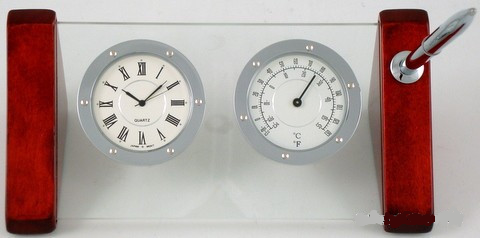 Leeber Glass Desk Clock and Thermometer-Clock-Schoppy's Since 1921