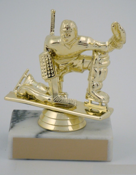 Ice Hockey Goalie Figure on Marble Base