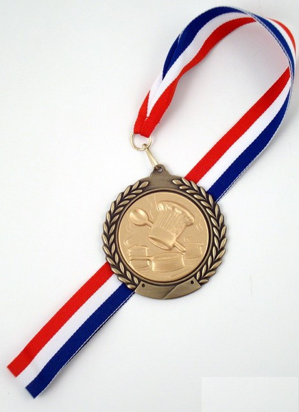 Culinary Chef Medal on Red, White & Blue Ribbon