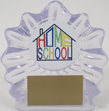Home School Logo on Sm. Flame Acrylic-Trophies-Schoppy's Since 1921