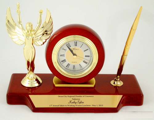 Winged Victory Rosewood Piano Finish Clock Pen Set
