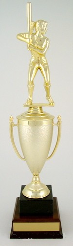 Softball Cup Trophy on Black Marble and Wood Base