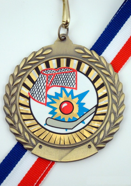 Street Hockey Medal on Red, White & Blue Ribbon-Medals-Schoppy's Since 1921