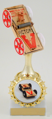 Mouse Trap Racing Column Trophy with Starred Logo Holder