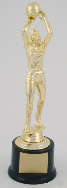 Female Basketball Trophy on Black Round Base-Trophies-Schoppy's Since 1921