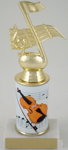 Violin Trophy with Custom Round Column-Trophies-Schoppy's Since 1921
