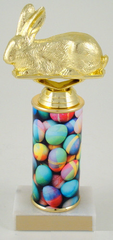 Bunny Trophy with Easter Egg Custom Round Column-Trophies-Schoppy's Since 1921