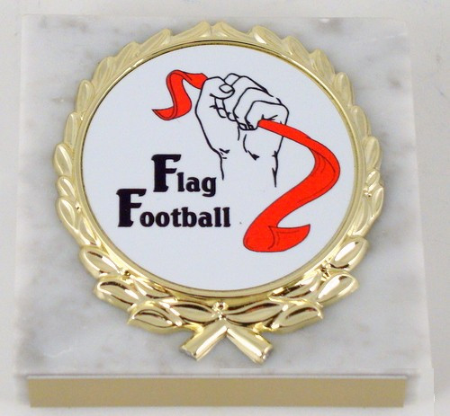 Flag Football Logo White Paperweight
