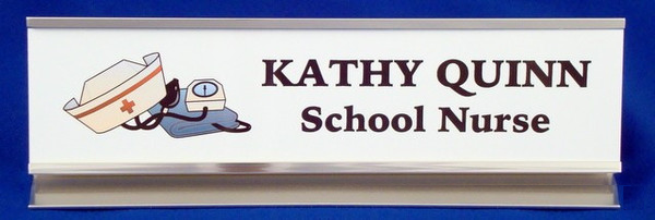 Nurse's Desk Nameplate in Silver Holder
