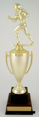 Football Cup Trophy on Black Marble and Wood Base-Trophies-Schoppy's Since 1921