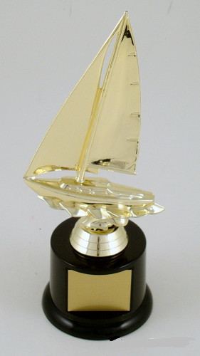 Sailboat Trophy on Black Round Base - Large