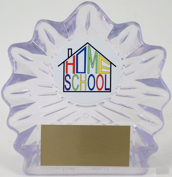 Home School Logo on Lg. Flame Acrylic-Trophies-Schoppy's Since 1921