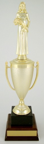 Beauty Queen Cup Trophy on Black Marble and Wood Base