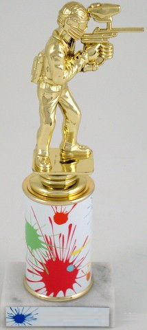 Paintball Trophy On Splatter Round Column