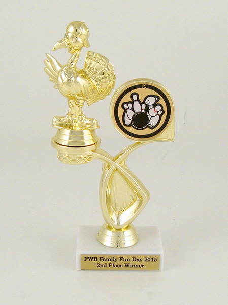 Turkey Bowler Offset Riser Trophy on Marble Base