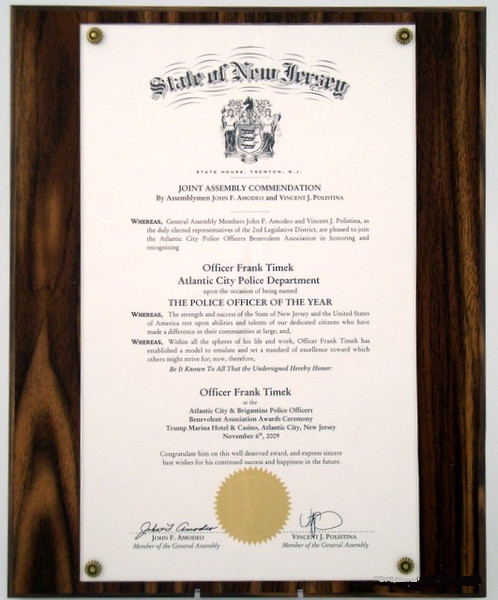 Veneer Proclamation Plaque for Legal Size Documents
