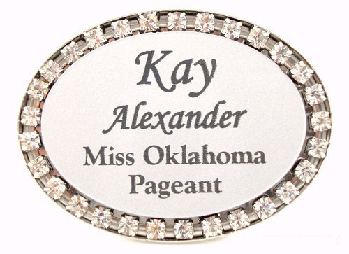 Rhinestone Oval Badge