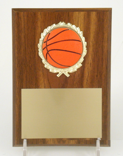 "Basketball 5"" x 7"" Plaque with Relief Ball Logo"