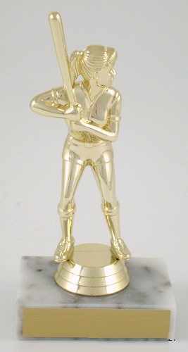 Softball Trophy Female on Marble Base