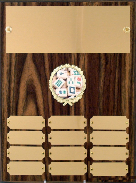 Perpetual Plaque with Mah Jong Logo - 12 plate - 9 x 12