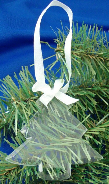 Tree Shaped Glass Ornament w/ White Ribbon