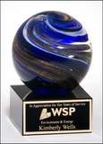 Art Glass Globe with Blue, White, and Metallic Gold Highlights-Paperweight-Schoppy's Since 1921